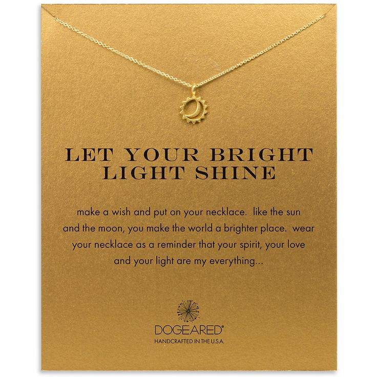 let your bright light shine sun and moon necklace, gold dipped - Dogeared