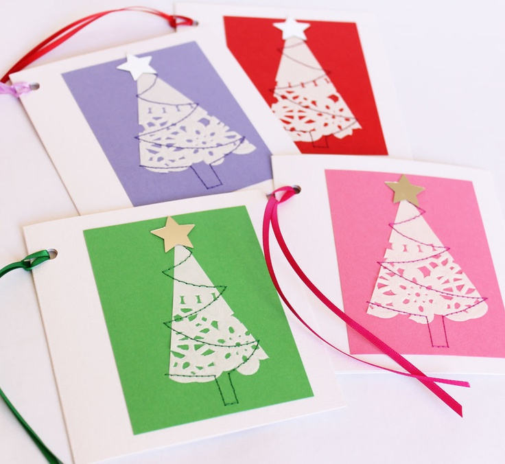 Four christmas gift cards doily trees