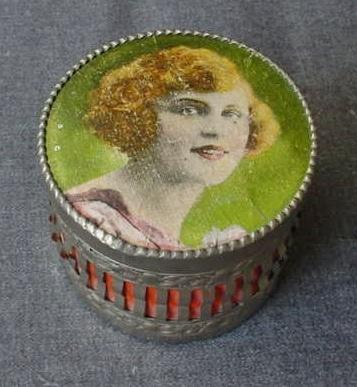 Vintage 30's German Flapper Lady Cardoard Filigree Metal Powder Box | eBay