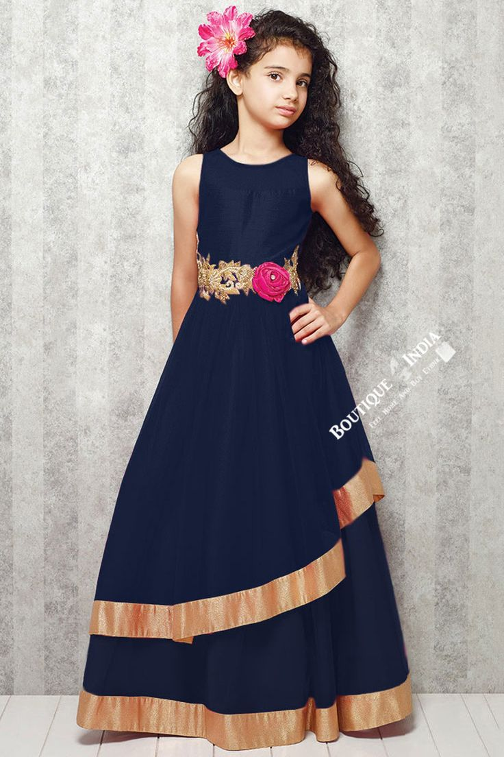Girl's - Dark Blue With Golden Casual Gown/Dress - Gilr's Casual And Party Collection Gowns