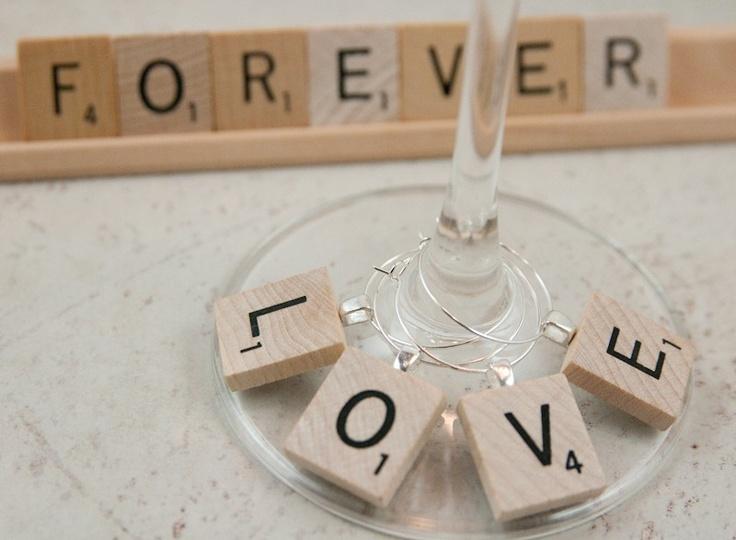 Scrabble Tile Wine Charms set of 4, love, wooden, favors. $9.95, via Etsy.