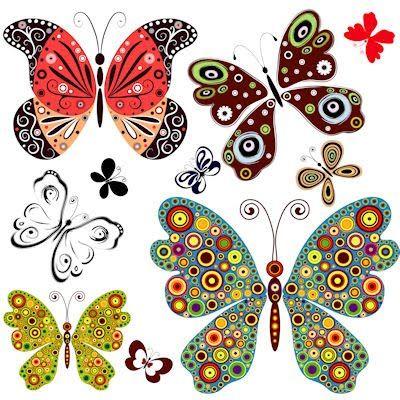 fotos de mariposas de colores para imprimir | imagen de mariposas para imprimir recortar y utilizar en la tecnica de ...