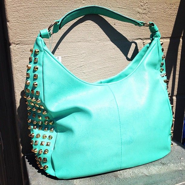 Mint green studded purse<3