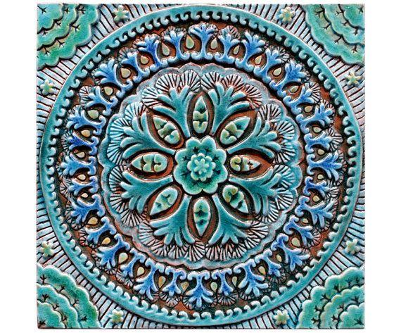 Modren Ceramic Tile Wall Art Bathroom Tiles Decor Suzani 4 Turquoise Throughout Ideas