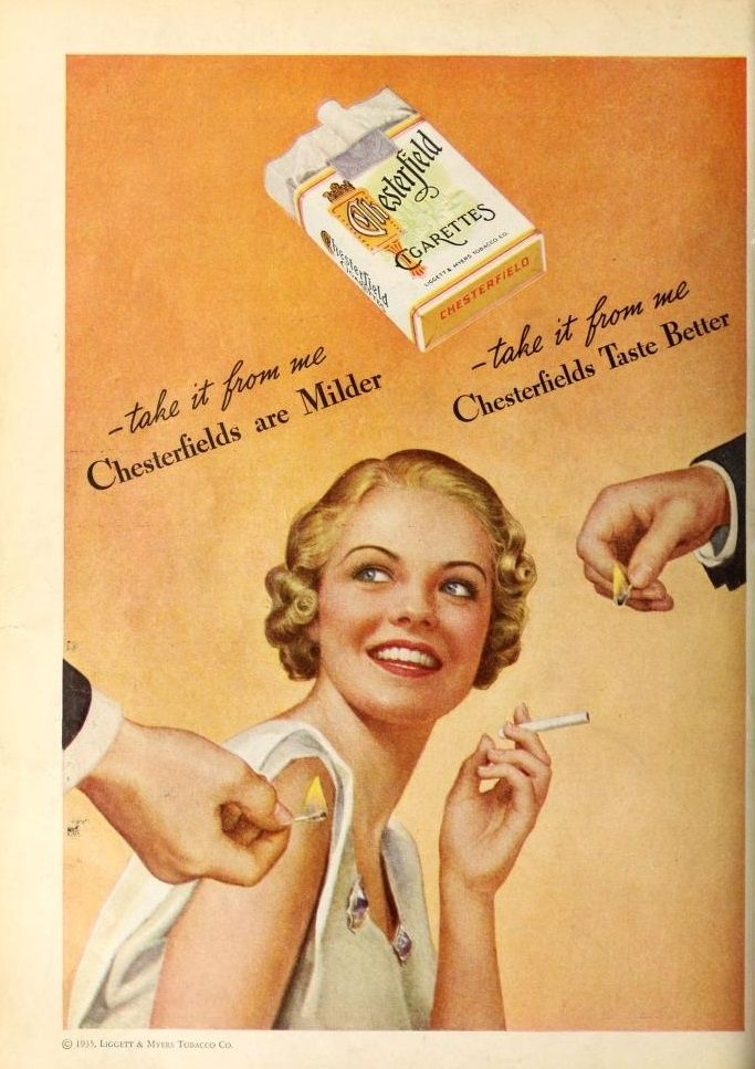 1935 ad for Chesterfield Cigarettes: