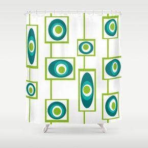 Modern Shower Curtain Mid Century Modern Shower by crashpaddesigns