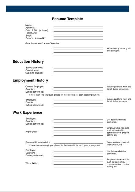 Free Printable Resume Templates To Fill