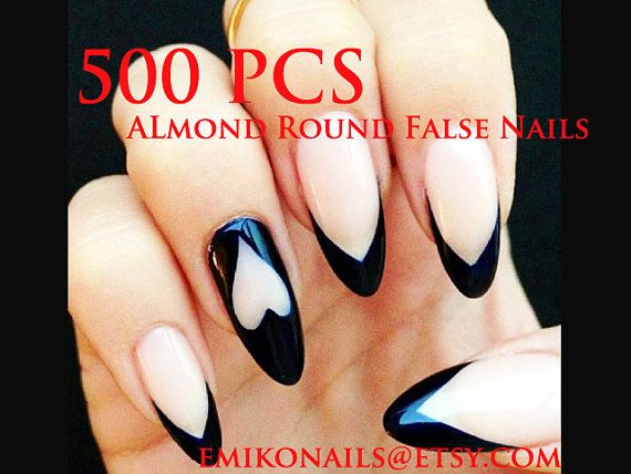 500 Blank Oval Nails Almond NailsBlank round nails by emikonails
