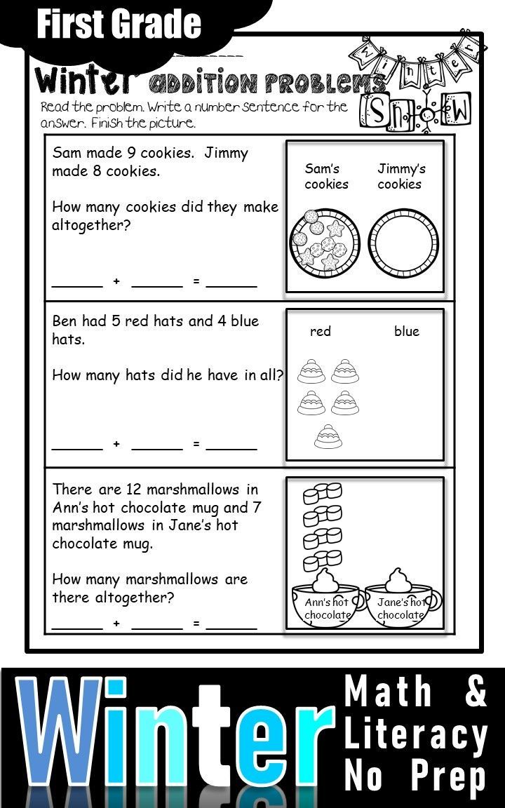 Winter Math And Literacy No Prep Printables First Grade Winter Math First Grade Math Math Literacy