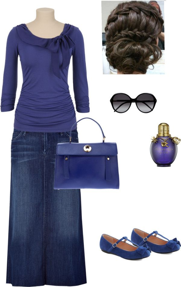"""Feeling Blue"" by lovemykidz ❤ liked on Polyvore...love long demin skirts"