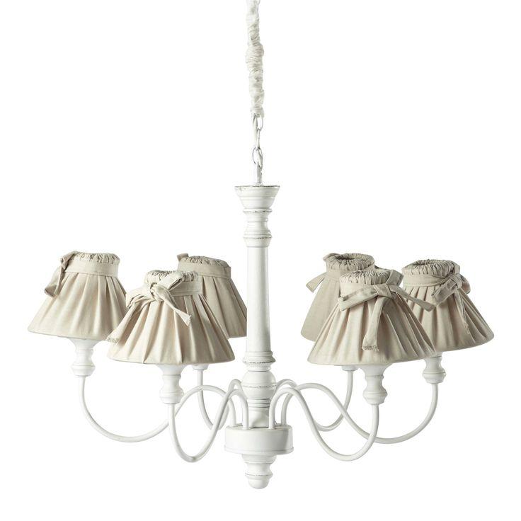 Lustre 6 branches en bois et coton blanc D 73 cm ROMANCE | Maisons du Monde
