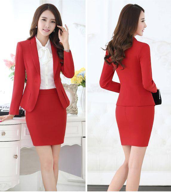 cdc99d4cfb Formal saias ternos Blazer e casaco define moda feminina ternos uniforme  escritório estilo OL roupas em 2019