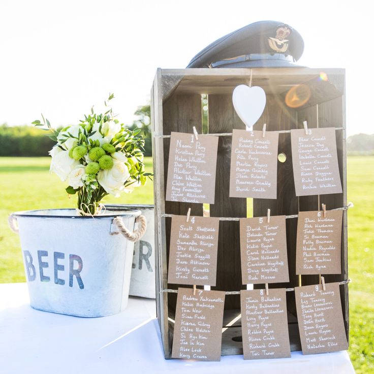 DIY seating plan idea for a rustic wedding. All you need is an apple crate, some Kraft card and string and nails.
