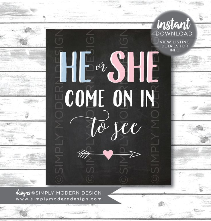 chalkboard he or she door sign, he or she come in to see, gender reveal door sign, chalkboard sign,  instant download, printable by SimplyModernDesignx on Etsy