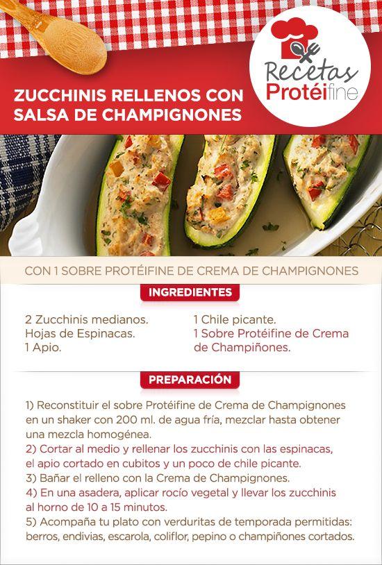 RECETAS PROTÉIFINE #Zucchinis Rellenos con Salsa de #Champignones #Salud #nutrición #ysonut