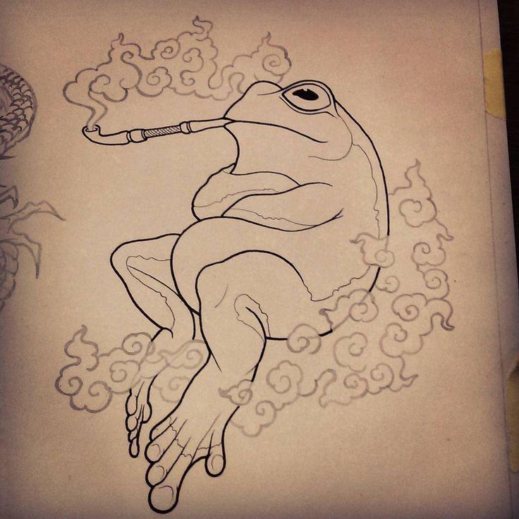 #frog #smoke #pipe #sketch #illustration #artwork #drawing #pencil #ink #tattoo…