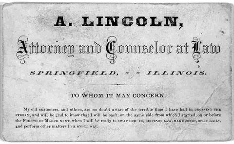 Business card Abraham Lincoln