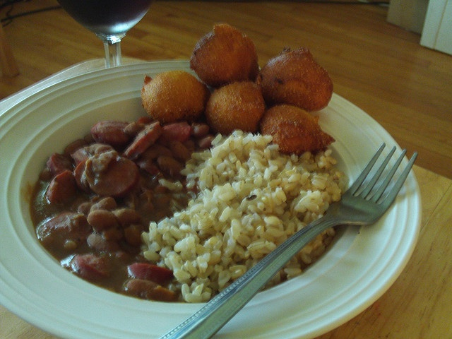 Homemade red beans and sausage with brown rice and hush puppies