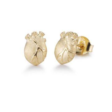 Bjorg earrings - anatomical heart, gold