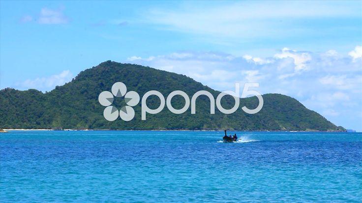 Tropical Blue Ocean Longtail Speed Fishing Boat Island Thailand - Stock Footage | by RyanJonesFilms #thailand #travel #sightseeing #water #ocean #sea #island #tropical #fishingboat #boat #sky #hot #beautiful #bluewater