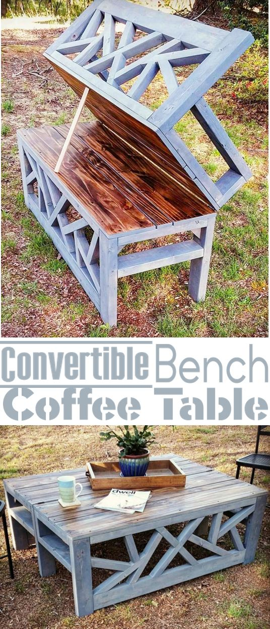 How To- Build an Outdoor Bench that Converts into a Coffee Table.  Tips & ideas for upcycling