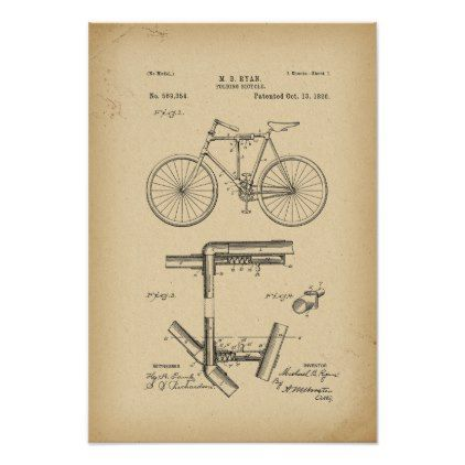 1896 Patent folding Bicycle Poster - antique gifts stylish cool diy custom