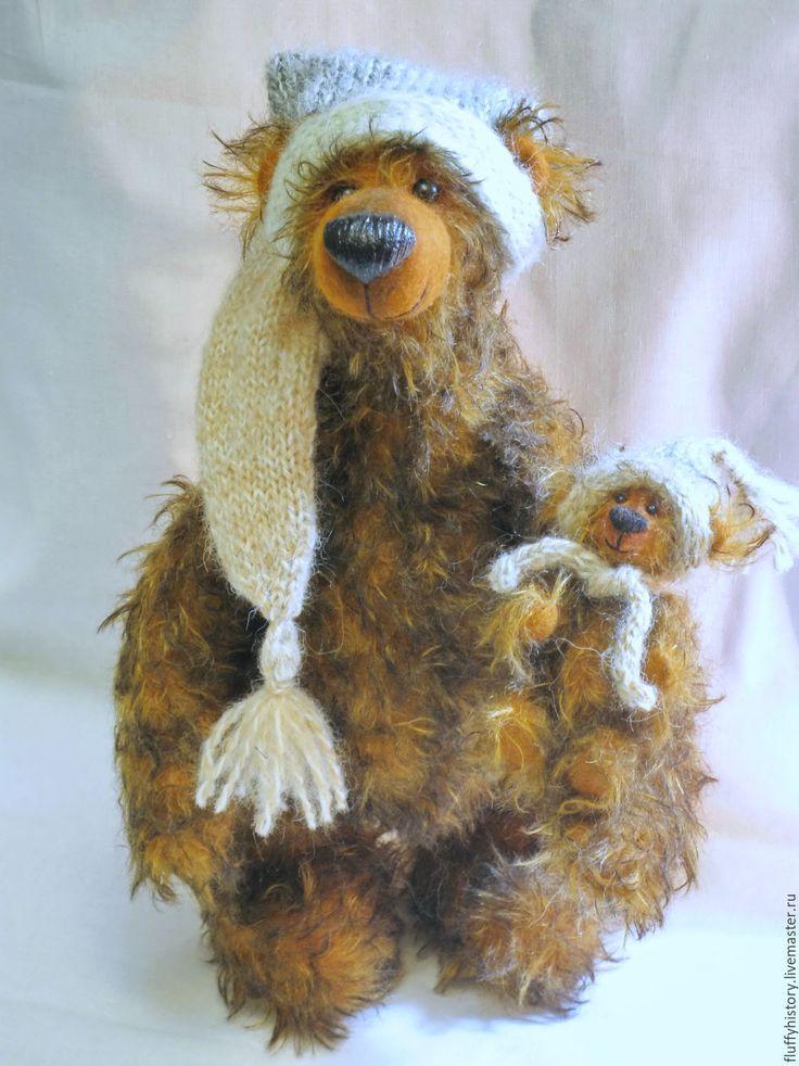 """Купить Мишки-тедди """"маМаша и медведик"""" - коричневый, авторская ручная работа, авторская игрушка"""