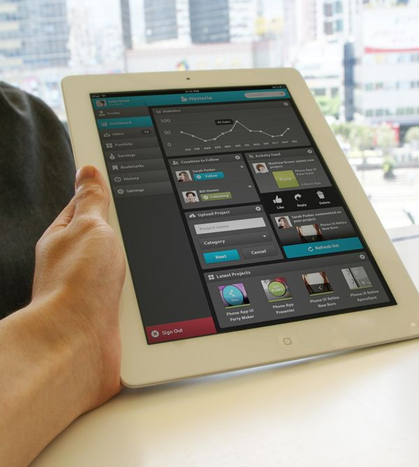iPad Dashboard App UI - Hysteria on Behance