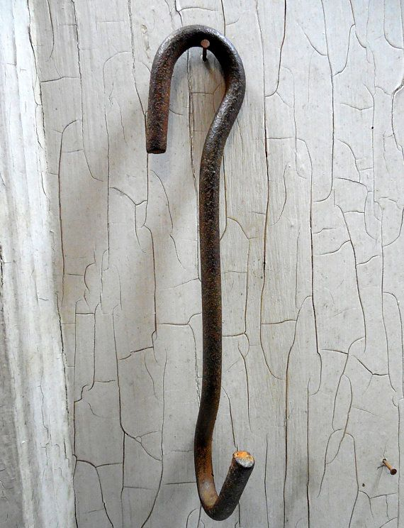 Rustic Hand Forged Camp Fire Cooking Hook, Primitive Camp