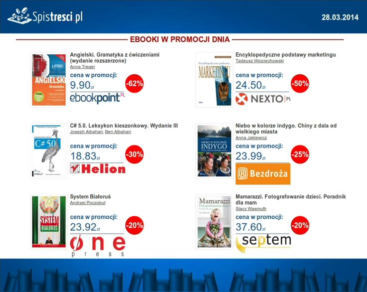 ⇨ http://sptr.pl/P8JEDW  ⇨ http://sptr.pl/1n7ajLl  ⇨ http://sptr.pl/P8JRXG  ⇨ http://sptr.pl/1lr0FHi  ⇨ http://sptr.pl/1lr09ZO  ⇨ http://sptr.pl/1lr0oEh   #ebook #promocjednia #promocje #ebooki