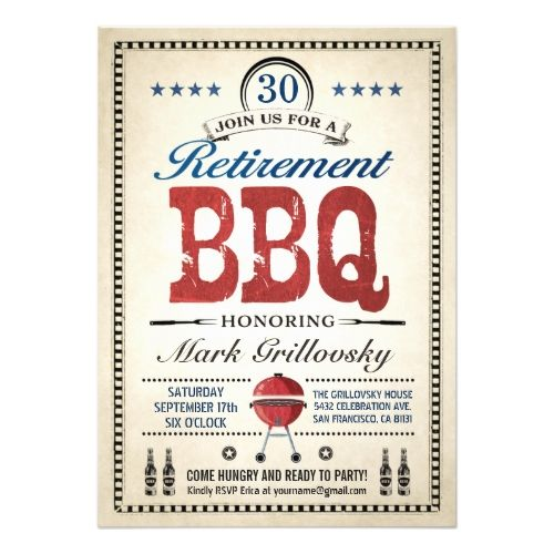 Retirement Party Invitations Retirement BBQ Invitations | Vintage Classic