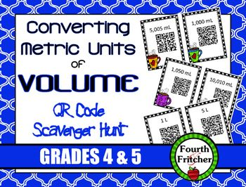This product contains a scavenger hunt that students will use to practice and reinforce converting metric units of volume (milliliters and liters).Students will work their way around the room using QR Codes! Each clue leads the students to the next code and so on until a ten-problem circuit is complete.