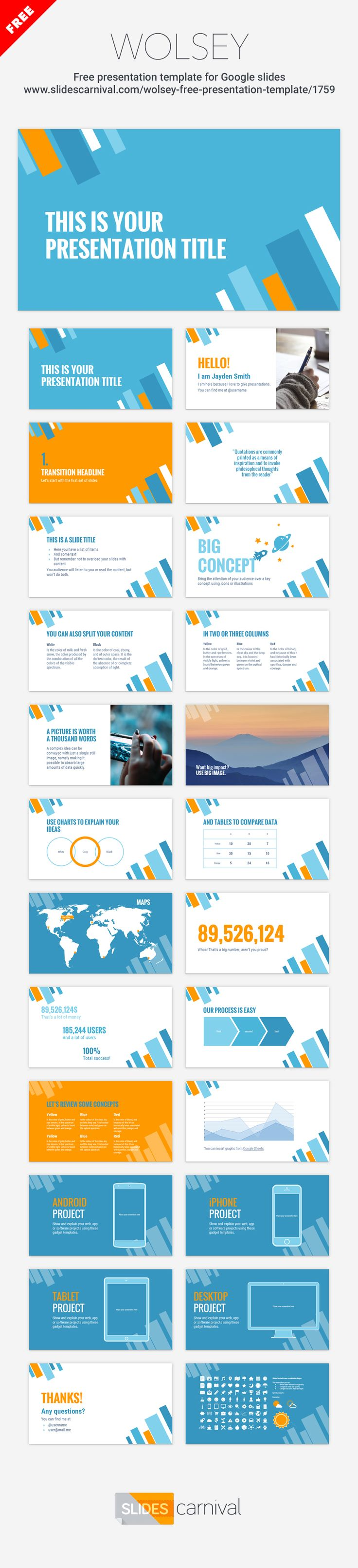 72 best free presentation templates images on pinterest free this bold modern free theme fits with current design trends and the geometric shapes used in the background give a dynamic look with several slide pronofoot35fo Image collections