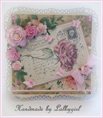 a vintage style card made using a joy crafts stamp and kraftyhands papers