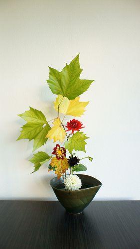 Ikebana inspired autumn flower arrangement
