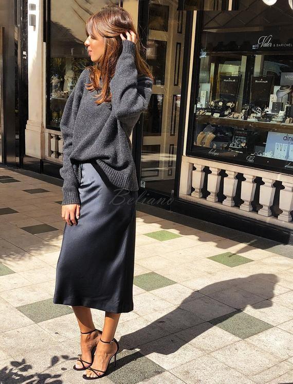 64930e88760d9 Silk midi Skirt Slip 90s Slip Skirt Midnight blue fall trends look ...