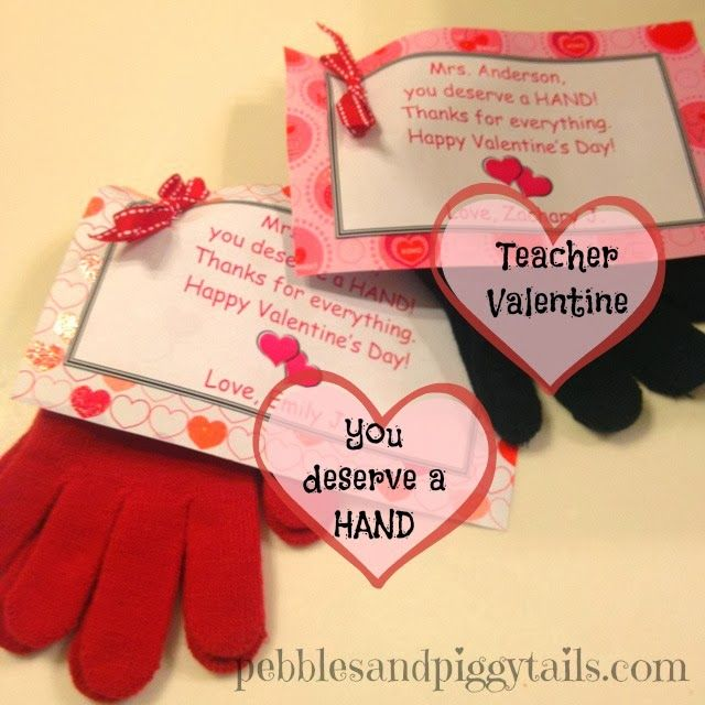 """Pebbles and Piggytails: Teacher Valentine: You Deserve a Hand or you could say """"Hands down, you're the best!""""."""