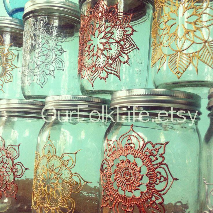 Handpainted gift jars. Mandala art for mason jars