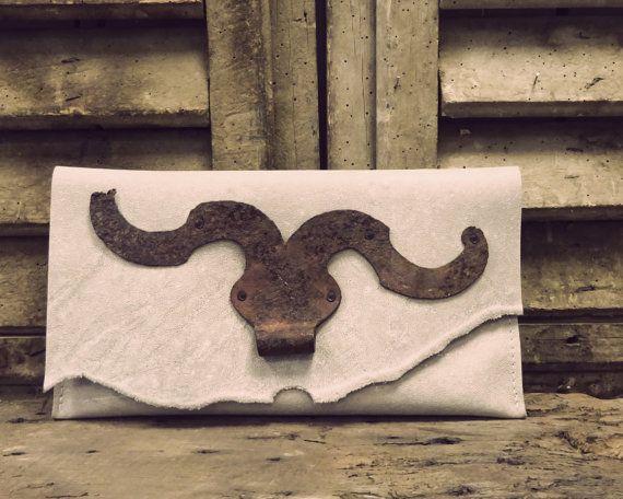 Unique handmade clutch with antique mustache