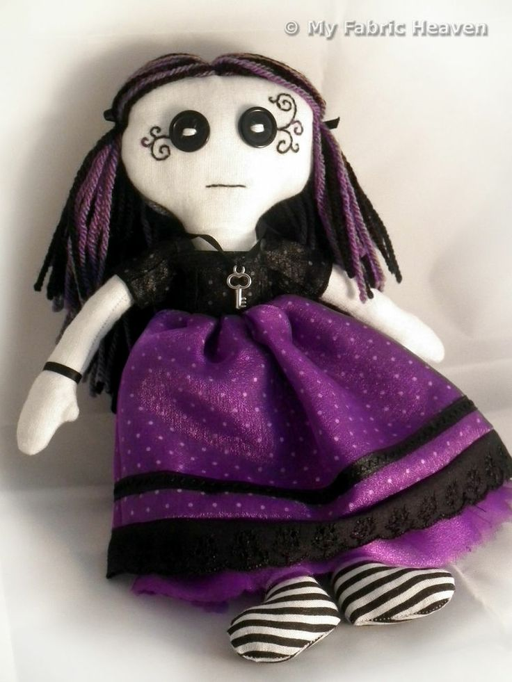 Gothic Rag Doll Craft Sewing Pattern & Full Instructions. Make your own.