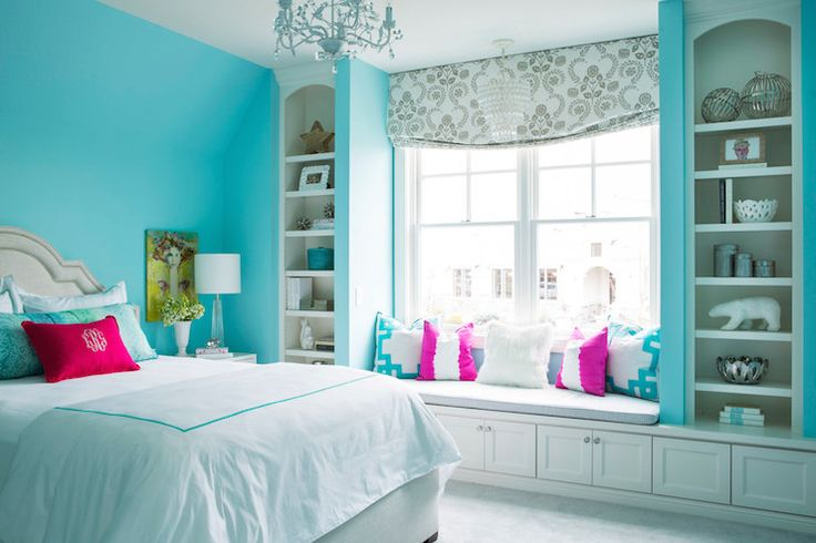 Window Seat Built Ins, Contemporary, Girl's Room, Sherwin Williams Spa, Martha O'Hara Interiors