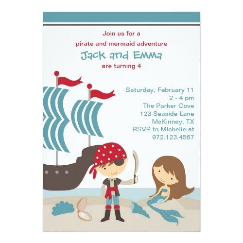 Twins Birthday Party Invitations Pirate and Mermaid Invitation