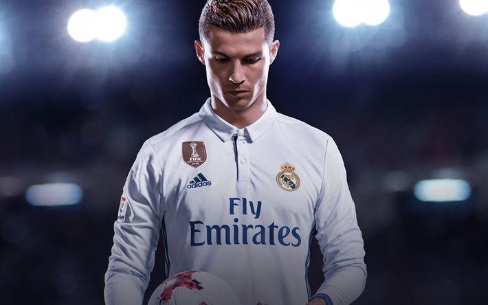 Download wallpapers Cristiano Ronaldo, Real Madrid, football, portrait, Spain, La Liga, super footballers