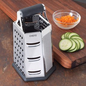 CHEFS Stainless Steel 6-Sided Grater  Grate fine to coarse, zest, shred and slice with this nonslip, all-in-one 6-sided grater. $24.95