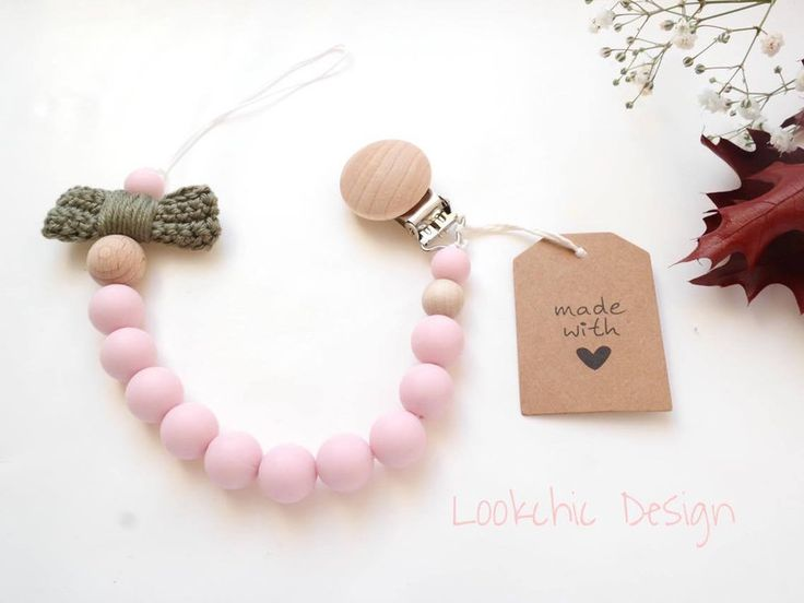 Dummy Chains – Pink dummy chain, pacifier clip, pacifier holder – a unique product by LookchicDesign on DaWanda