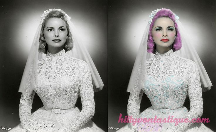 Janet Leigh bride - 1950s 1960s - Altered Vintage Imagery - The Reimagining of Icons Past by kittyvontastique.com Reimagined with pink hair and a sneaky blue bustier
