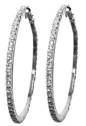 Rhinestone Hoop Earrings. Large Pair of Flashing Rhinestone Hoop Earrings, 2 & 1/8 inch diameter. Earrings are Silver Plated. Earring backs are spring close with hypo-allergenic posts.#earrings#long earrings#dangle earrings#bridal earrings#bridal jewelry#bridesmaids jewelry#bridesmaids earrings#rhinestone earrings prom earrings#earrings for prom#wedding earrings#silver earrings#hoop earrings