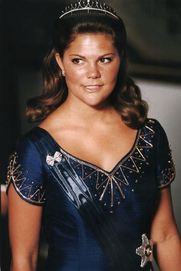 Crown Princess Victoria wore this tiara for a dinner during the Swedish State Visit to Finland in August 1996.