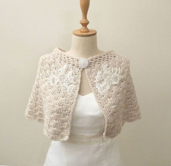 Crochet Bridal Capelet Shoulder Wrap Wedding Cape Shawl Wrap Champagne with Lace