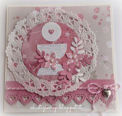 Nuova card per una Comunione, consegnata l'altro ieri, stavolta tutta nei toni del rosa, molto molto molto pink!       Ho utilizzato ritagli...